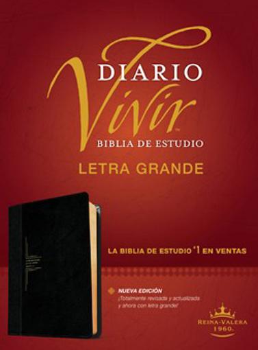 Imagen de Biblia de estudio del diario vivir RVR60, letra grande (Semipiel, Negro - Onice)