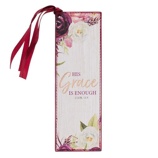 Imagen de His Grace is Enough Faux Leather Bookmark in Pink Plums - 2 Corinthians 12:9
