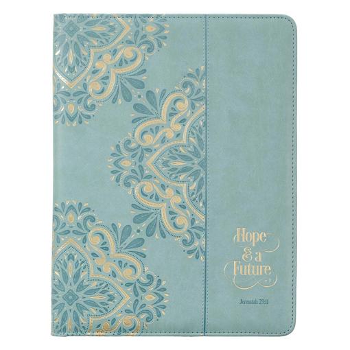 Imagen de Hope & a Future Powder Blue Faux Leather Portfolio Folder - Jeremiah 29:11