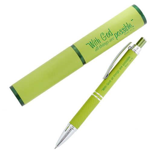 Imagen de All Things Possible, Green - Matthew 19:26 Gift Pen in Case