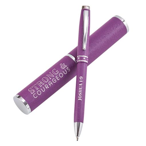 Imagen de Strong & Courageous Purple Gift Pen – Joshua 1:9